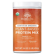 GoldenSource Proteins, Organic Plant-Based Protein, Maple, 1 Pound, 18 Servings, 22 Vitamins & Minerals, Complete Amino Acid Profile, Free from Gluten, Soy, Dairy & Peanut, no Added Sugar