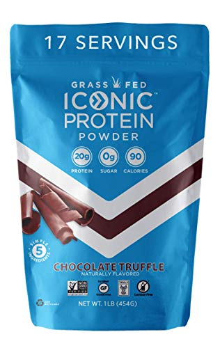 Iconic Protein Powder, Chocolate Truffle, 1 Lb (17 Serving) | Sugar Free, Low Carb Protein Shake | 20g Grass Fed Whey Protein & Casein | Lactose Free, Gluten Free, Kosher, Non-GMO | Keto Friendly