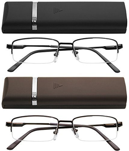 Reading Glasses 2 Pair Black and Brown with Cases Ultra Thin Lightweight Spring Hinge Glasses for Reading for Men and Women +3.6