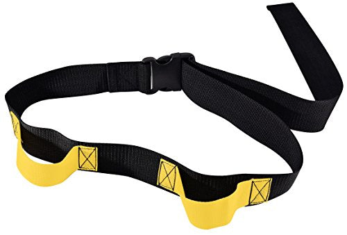 "Secure SGB2H-60B Transfer and Walking Gait Belt with Caregiver Hand Grips - Patient Ambulation Assist (60""L x 2""W, Yellow Handle (2 Handle w/EZ Buckle))"