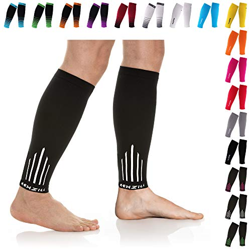 NEWZILL Compression Calf Sleeves (20-30mmHg) for Men & Women - Perfect Option to Our Compression Socks - For Running, Shin Splint, Medical, Travel, Nursing, Cycling (L/XL, White)