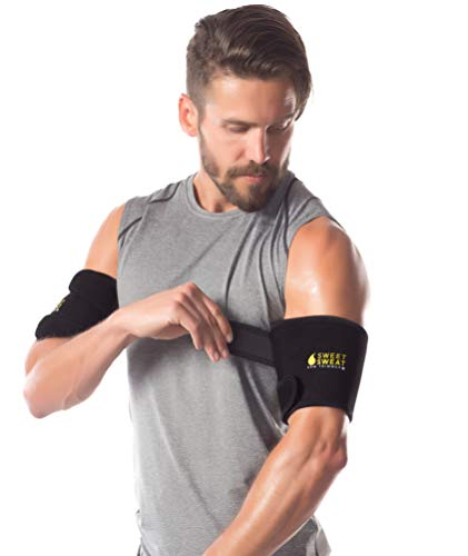 Sweet Sweat Arm Trimmers for Men & Women | Increases Heat & Sweat Production to The Bicep Area | Includes Mesh Carrying Bag (Yellow Logo, Large)