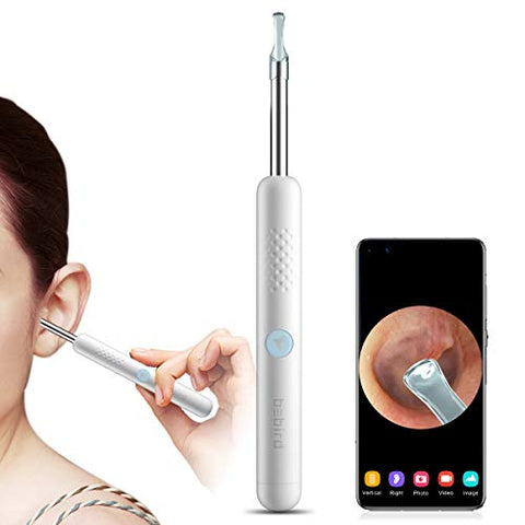Bebird R1 Ear Wax Removal Otoscope, Wireless 1080P HD Smart Ear Camera and Wax Remover Tool with 6LED Lights Work with iPhone & Android Safe Home Ear Cleaning Kit Endoscope for Kid Adult & Pet(White)