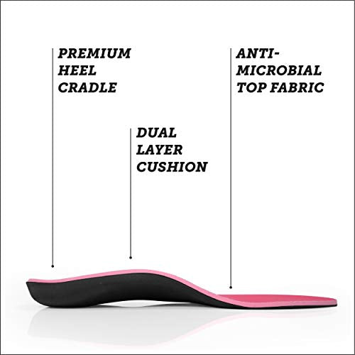 Powerstep Women's PINNACLE PINK Shoe Insoles, Women's 8-8.5 / Men's 6-6.5