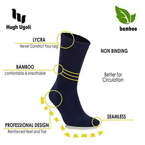 Hugh Ugoli Women's Bamboo Diabetic Crew Socks, Thin, Loose Fit, Soft, Wide Stretchy, Seamless Toe, 4 Pairs, Navy Blue, Shoe Size: 6-9