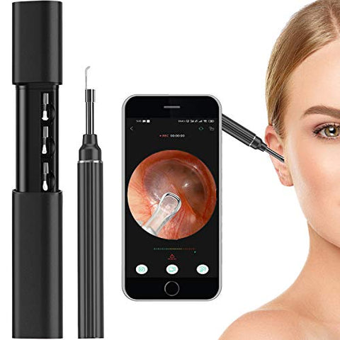 Wireless Ear Endoscope Wax Removal Tools 5MP Pixels 3.0mm Pro Ear Camera IP67 Waterproof Digital Otoscope with 6 LED Light USB Charging for Ear Cleaning Android/iOS Children Adult