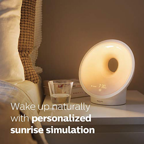 Philips SmartSleep Sleep and Wake-Up Light, Simulated Sunrise and Sunset, Multiple Lights and Sounds, RelaxBreathe to Sleep, HF3650/60
