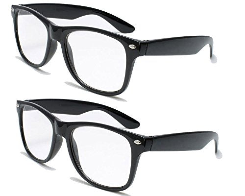 2 Pairs Deluxe  Style Reading Glasses - Comfortable Stylish Simple Readers Rx Magnification (2 black pair, 3.25 x)
