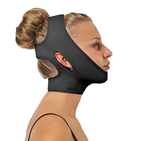 Post Surgical Chin Strap Bandage for Women - Neck and Chin Compression Garment Wrap - Face Slimmer, Jowl Tightening, Chin Lifting (Black, Large (Pack of 1))