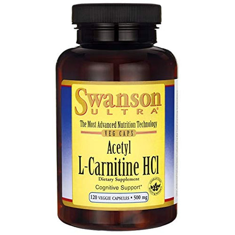Swanson Amino Acid Acetyl L-Carnitine Hcl 500 Milligrams 120 Veg Capsules (4 Pack)