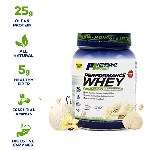 Performance Inspired Nutrition Whey Protein Powder - 25G Protein  Digestive Enzymes  Fiber Packed  Vanilla Bean  34.56 Ounce