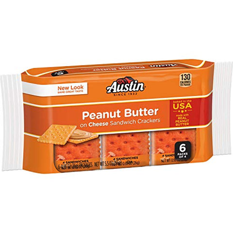 Austin, Cheese Crackers with Peanut Butter Fillilng, 6 Count, 5.5oz Package (Pack of 4)