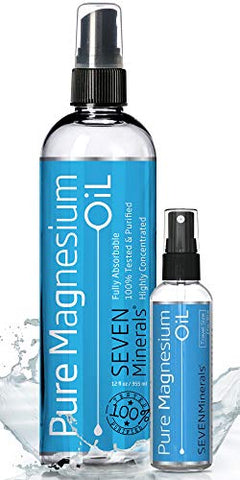 Magnesium Oil 12oz Bottle with a Travel Sized Magnesium 2oz Bottle