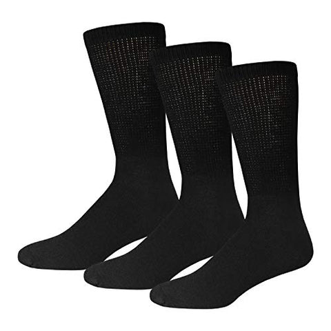 3 Pairs of Lady Diabetic Neuropathy Crew Socks, Black, (Size 9-11, Shoe Size 5-10)