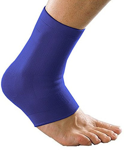 Max Compression Nylon Integrated Dual Ankle Supports, Blue, 2 Count