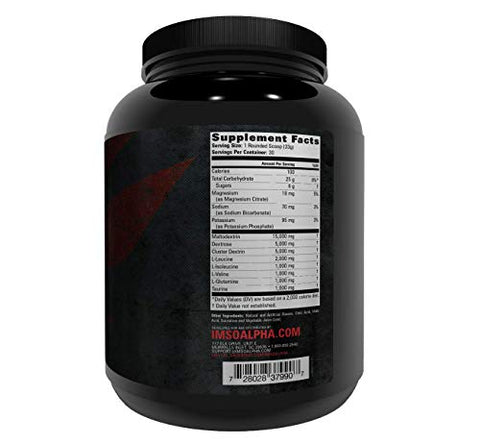 IMSOALPHA, Alpha CARB with Cluster Dextrin, 30 Servings of Muscle-Building Energy, PRE/Intra/Post Workout, 2:1:1 BCAA Ratio, 20 Servings (Fruit Punch)