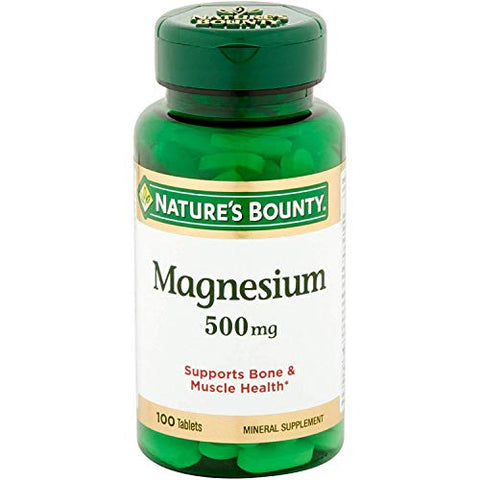 Nature's Bounty Magnesium 500mg, 300 Tablets (3 X 100 Count Bottles)