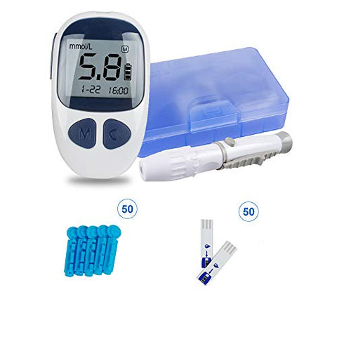 Digital Glucose Meter Kit with Strips and Lancets Handheld Monitor for Home& Travel Use (1 Glucose Monitor+50 Test Strips+50 Lancets)