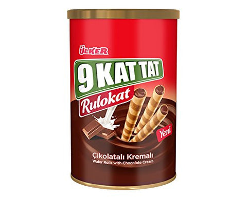 Ulker 9 Kat Tat Rulokat Wafer Rolls W/ Chocolate Cream 8.1 oz ( 230 Gr ) 3 Pack
