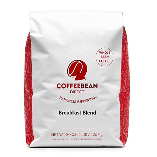 Coffee Bean Direct Breakfast Blend, Whole Bean Coffee, 5-Pound Bag