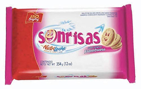 SONRISAS Galletitas 354 gr. - 2 Pack | Vanilla Sandwich Cookie w/ Raspberry Flavored Filling 12 oz. - 2 Pack