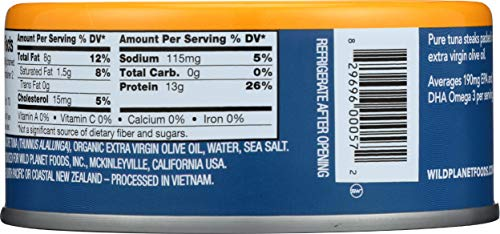 Wild Planet Albacore Wild Tuna in Extra Virgin Olive Oil, Keto and Paleo, 3rd Party Mercury Tested, 5 Ounce ,12 Count (Pack of 1)