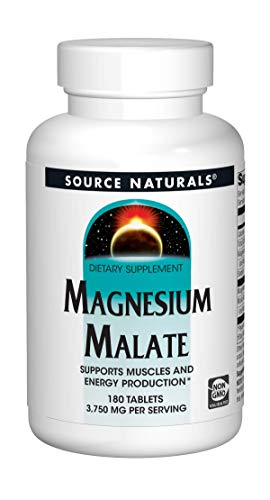 Source Naturals Magnesium Malate - 3750mg Per Serving - Essential Magnesium Malic Acid Supplement - 180 Tablets