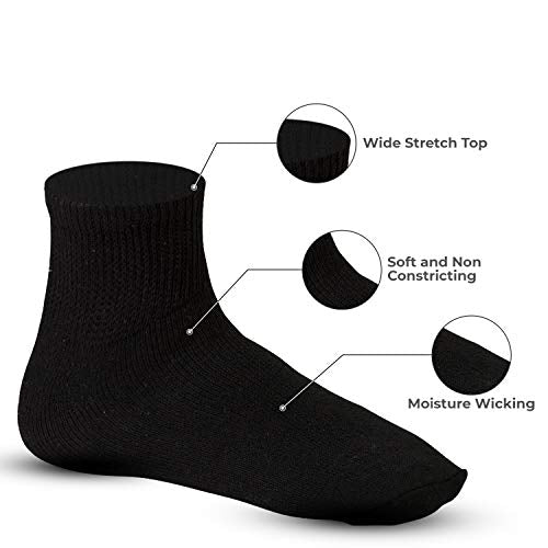Debra Weitzner Diabetic Ankle Socks Mens Womens Non-binding Socks Loose Fit 12 Pairs Black