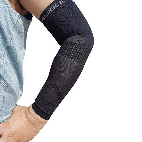 Compression Arm Sleeves BeVisible Sports - Arm & Elbow Support For Men, Women & Youth - Boosts Circulation, Aids Faster Recovery -With SPF 50+ UV Sun Protection - 1 Pair - (Small/Medium, Black)