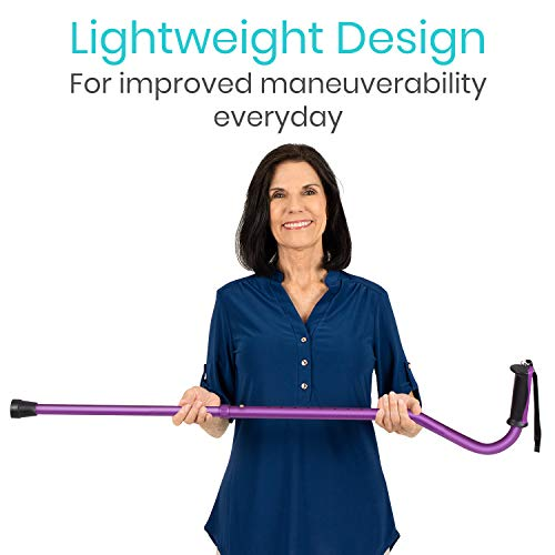 Vive Walking Cane - for Men & Women - Portable, Adjustable Offset Balance Stick - Lightweight & Sturdy Mobility Walker Aid for Arthritis, Elderly, Seniors & Handicap (Purple)