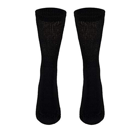 NuVein Diabetic Socks Sensitive Foot Comfort Loose Knit, Black, Large