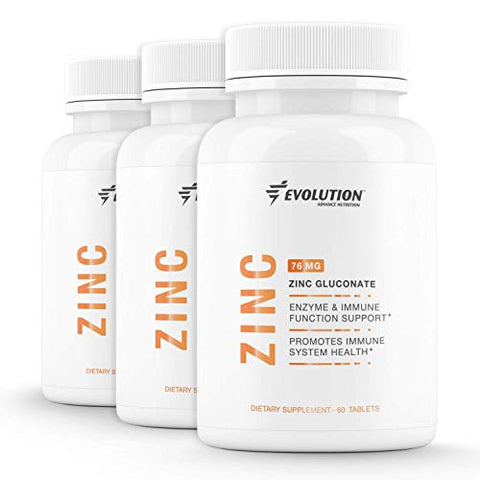 Evolution Advance Sport Nutrition Vegan Zinc Gluconate Tablets Enzyme Immune Function and Immune System Support  60 Tablets, 3 Pack (76 Milligrams Each)