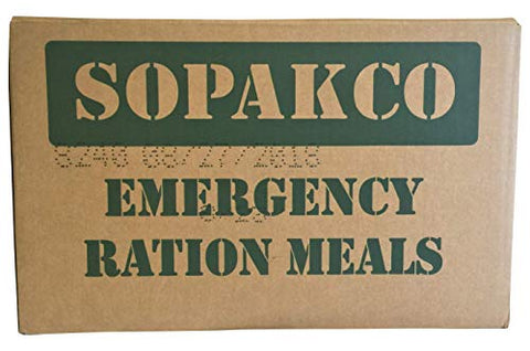 8/2018 Pack Date - 8/2023 expiration SOPAKCO with 16 Sure-Pak MREs-Reduced Sodium Food Rations-Meals Ready To Eat-2018 Manufacture Date