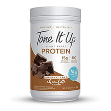Tone It Up Unsweetened Organic Plant Based Chocolate Protein Powder for Women | 100% Pea Protein Sugar Free Gluten Free | 15g of Protein | Kosher Non GMO | 1.54lbs