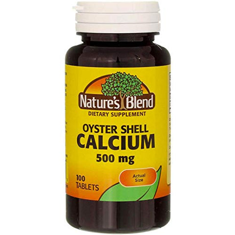 Nature's Blend Oyster Shell Calcium 500 mg Tablets - 100 ct, Pack of 3