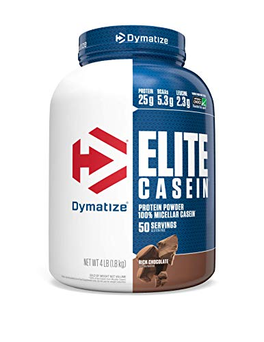 Dymatize Elite Casein Protein Powder, Slow Absorbing with Muscle Building Amino Acids, 100% Micellar Casein, 25g Protein, 5.4g BCAAs & 2.3g Leucine, Helps Overnight Recovery, Rich Chocolate, 4 Pound