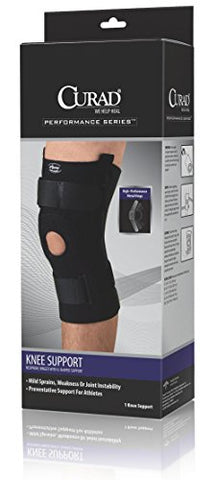 Medline ORT23220LD Curad Neoprene Knee Support Hinged with U-Shaped Support, Large (Pack of 4)