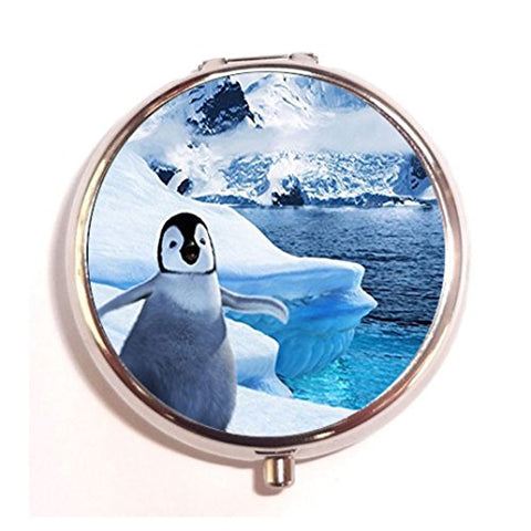 Penguins design custom Unique Tone Round Pill Box Medicine Tablet Organizer or Coin Purse