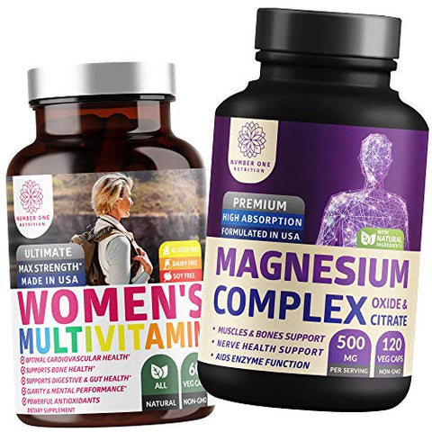 N1N Premium Magnesium Complex and Women's Multivitamins, All Natural Supplements to Improve Energy, Immunity and Support Bone, Muscle and Nerve Function, 2 Pack Bundle