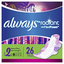 Image of Always Radiant Feminine Pads for Women, Size 2, 78 Count, Heavy Flow Absorbency, with Flexfoam Wings, Light Clean Scent, 26 Count, Pack of 3 - 78 Count Total)