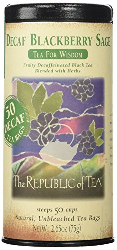 The Republic of Tea Decaf Blackberry Sage Black Tea, 50 Tea Bags, Herbal Tea For Wisdom