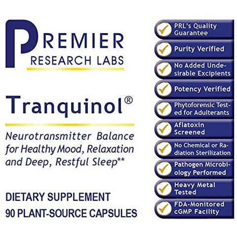 Premier Research Tranquinol Dietary Supplement 90 Plant-Source Capsules, Neurotransmitter Balance for Healthy Mood, Relaxation and Deep Restful Sleep