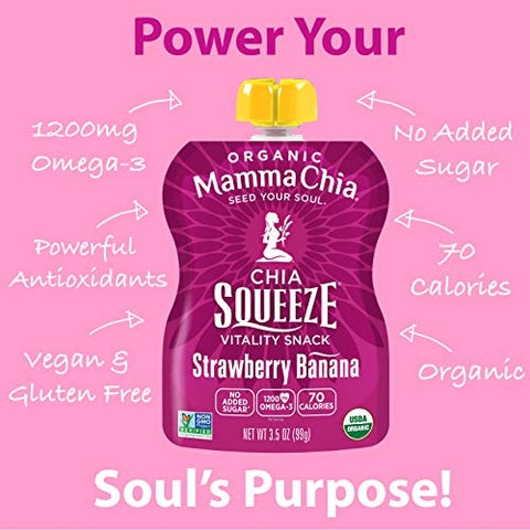 Mamma Chia Organic Vitality Squeeze Snack, Strawberry Banana, 3.5 Ounce (Pack of 24)