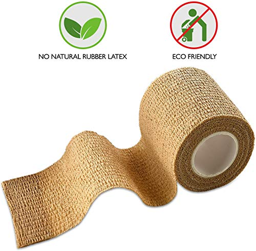 MEDca Self Adherent Cohesive Wrap Bandages 2 Inches X 5 Yards 12 Count with Strong Elastic First Aid Tape for Sprain Swelling and Soreness on Wrist and Ankle (Skin Color)