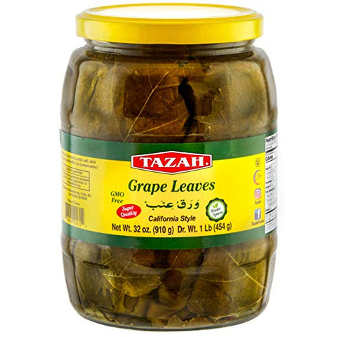 Tazah Premium Grape Leaves California Style 32 Ounce Glass Jar