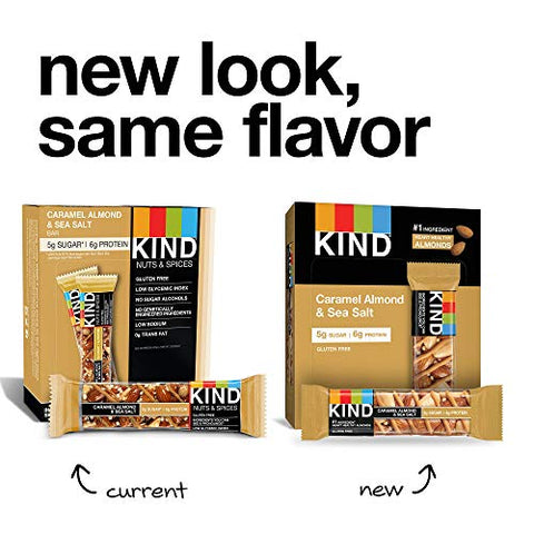 KIND Bars, Caramel Almond & Sea Salt, Gluten Free, Low Sugar, 1.4oz, 12 Count