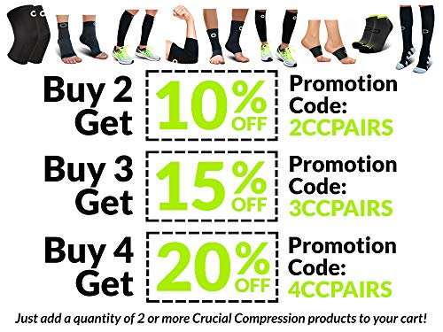 Crucial Compression Calf Sleeves for Men & Women (Pair) - Instant Shin Splint Support, Leg Cramps, Calf Pain Relief, Running, Circulation and Recovery Socks - Premium Compression Sleeve for Calves