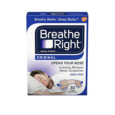 Breathe Right Nasal Strips to Stop Snoring, Drug-Free, Original Tan Large, 30 count, 2 Packages