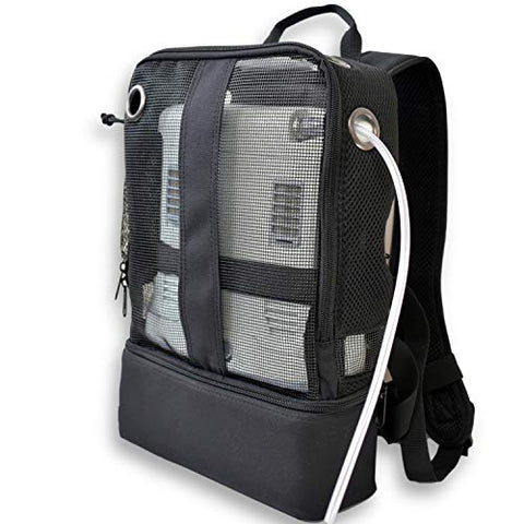 Mesh Backpack For Portable Oxygen Concentrators, Designed for Inogen One G5, Inogen One G3, Respironics SimplyGo Mini, Oxygo, and Caire Freestyle Units, Black/o2Totes