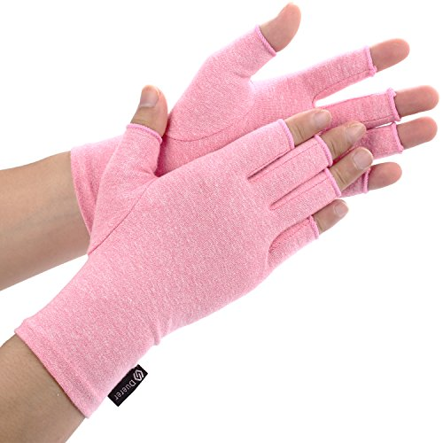 Duerer Arthritis Gloves Women Men for RSI, Carpal Tunnel, Rheumatiod, Tendonitis, Fingerless Hand Thumb Compression Gloves Small Medium Large XL for Pain Relief (Medium, Black) (Pink, S)